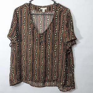 💋 Cato sheer patterned blouse